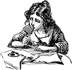 pensive writer